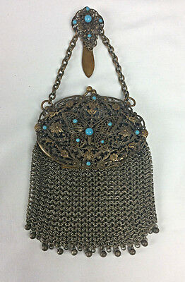 Antique Mesh Chatelaine purse Filigree Butterfly blue cabochons chain mail