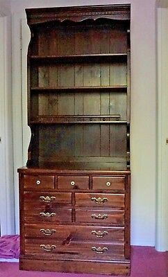 Ethan Allen Old Tavern Antiqued Pine China Hutch Cabinet w Drawers