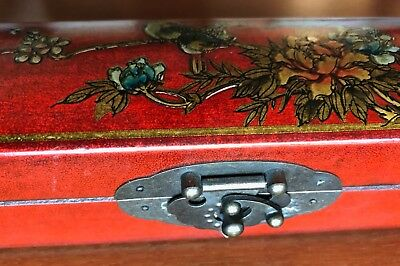 Beautiful Long Wood Box with nice Latch and Floral Pattern from Asia