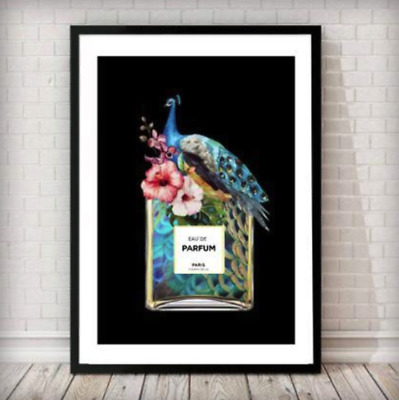 Fashion Poster Perfume Print Art Wall Decor A4 Bottle A3 Peacock Framed Black