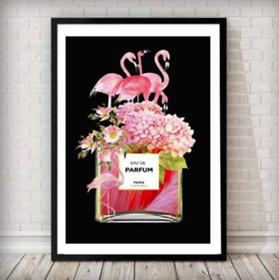 Flamingos Fashion Poster Perfume Print Art Wall Decor A4 Bottle A3 Black Framed