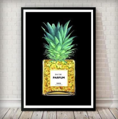 Fashion Poster Perfume Print Art Wall Decor A4 Bottle A3 Pineapple Black A1