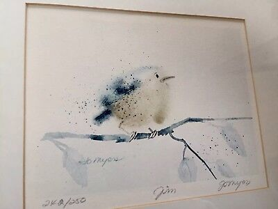 Jo Myers Early WATERCOLOR print BIRD ON BRANCH Limited Edition Signed & Numbered