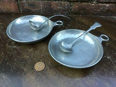Pair 18/19th Century Antique Pewter Slop Dishes Spoons Fleur De Lis Mark Star
