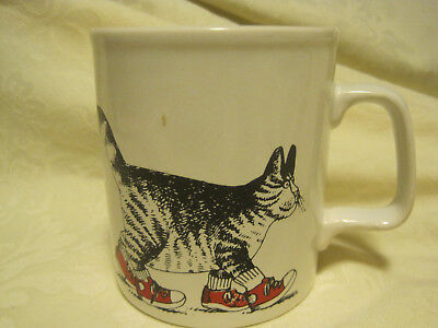 B Kliban Cat With Red Sneakers Coffee Cup / Mug ~ Kiln Craft ~ Made In England