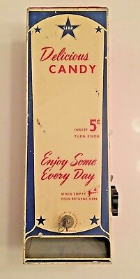 Vintage Original Star Brand 5 Cent Candy Vending Machine Coin-Op Snickers Etc