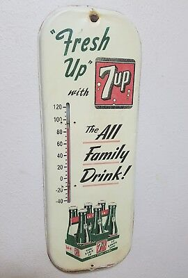 40's 7UP FRESH UP TAKE SOME HOME metal advertising thermometer gas station sign
