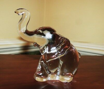 Vintage HEISEY Art Glass Small / Baby Crystal ELEPHANT Raised Trunk