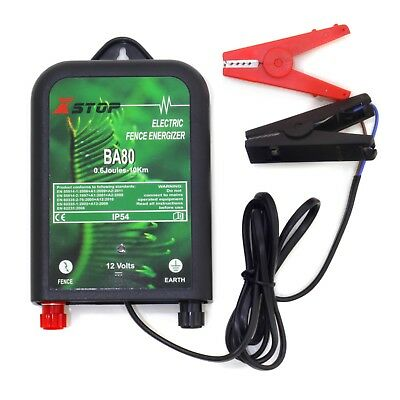 REFURBISHED BA80 12v BATTERY 10Km Range ELECTRIC FENCE ENERGISER 0.6J CE RoHS