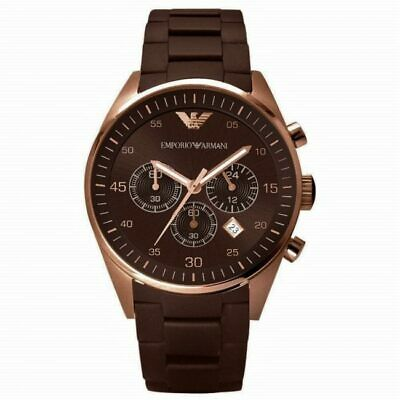 BRAND NEW Emporio Armani Brown Rose Gold Silcone Chronograph Mens Watch AR5890