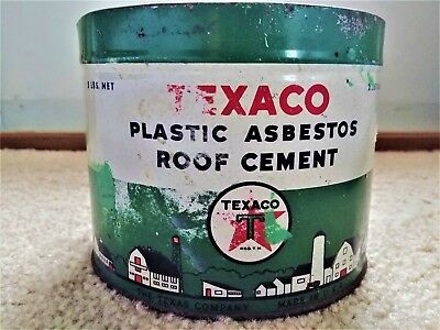 Original 1930's Texaco Roofing Texas Co. 5 lb. Plastic Asbestos Roof Cement Can