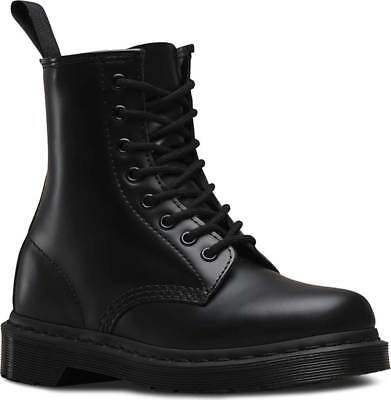 NEW Mens Dr Martens 1460 8 Eye Black Smooth Mono Leather Lace Up Boots AUTHENTIC