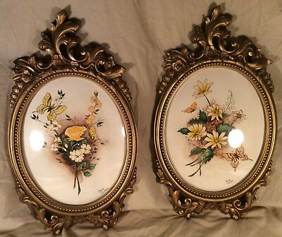 Oval Floral Picture Butterfly Gold Tone Plastic Burwood Bea Nobbe Home Interior