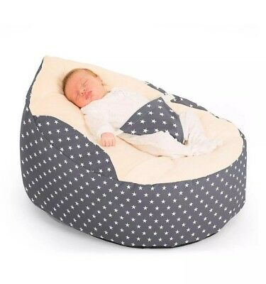 Baby Bean Bag Cuddle Seat Soft Adjustable Harness Luxury Cuddlesoft Stars Grey
