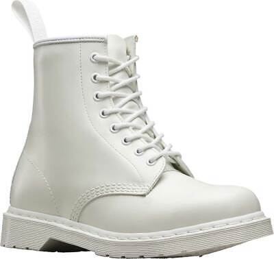 NEW Mens Dr Martens 1460 8 Eye White Smooth Mono Leather Lace Up Boots AUTHENTIC
