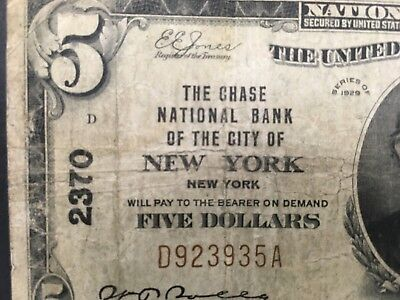USA  5 Dollars  National  -- New York, NY  -- Charter # 2370