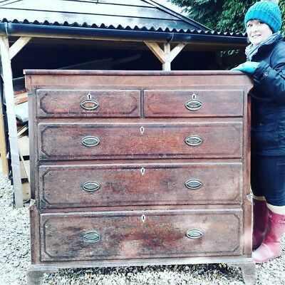 large mid 19th century oak chest of drawers project Huge Country House Inlaid