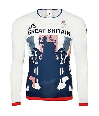 Adidas Comp Response Running T Shirt Mens Small Long Sleeve Gym Top Team GB