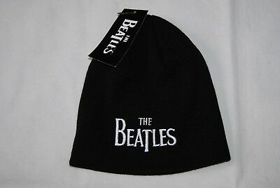 The Beatles Embroidered Drop T Logo Beanie Ski Hat New Official Abbey Road