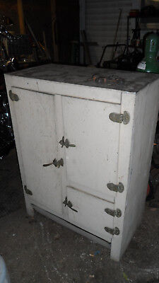 Antique Vintage 1920 3 door Wood & Metal Ice Box Ready for Restoration Quincy IL