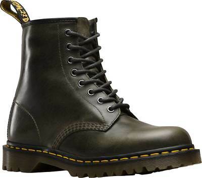Mens Dr Martens 1460 8 Eye Dark Taupe Brown Orleans Textured Waxy Leather Boots