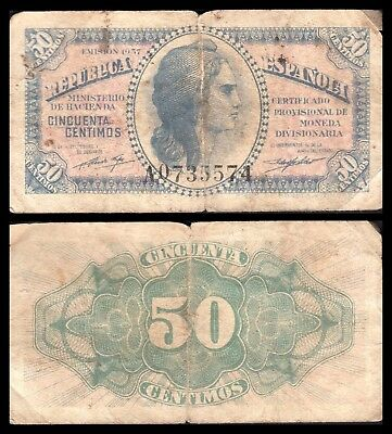 España - Spain  0,50 Céntimos 1937 Pick 93 BC- = F-