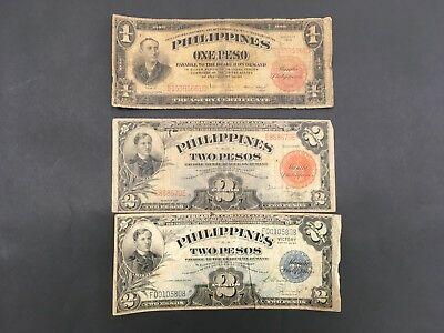 PHILIPPINES  (3 Old Notes)  1936, 1941, 1944