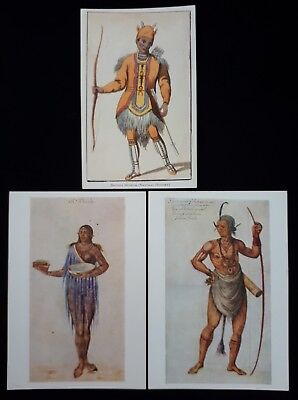3 Unused British Museum Postcards Native Costumes Woman Of Florida & Chief Etc