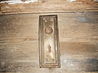 Vtg Chippy Mission Raised Edge Rustic Aged Patina Shabby Door Knob Backplate