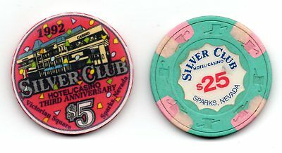 Silver Club $5.00 & $25.00 Casino Chips Sparks NV TCR# N2627 N6273 Lot of 2