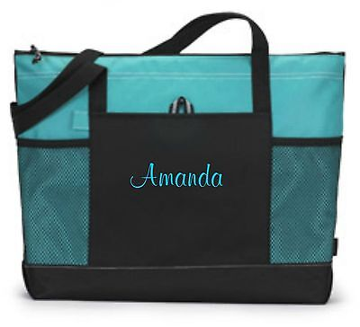 Personalized Tote Bag Book Shopper Bridesmaid Gift Teacher Nurse Purse Turquoise