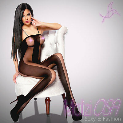 Catsuit Tuta VELATA NERA Body Stocking Scollata Strisce Opache Nere Bodystocking