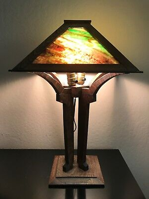 Antique Mission or Arts and Crafts, Oak Table Lamp, Craftsman