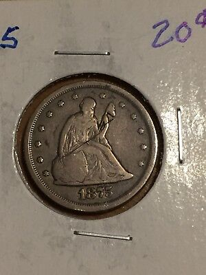 1875-S SEATED LIBERTY SILVER 20 CENT PIECE Twenty Cent San Francisco Mint