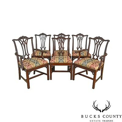 Chippendale Style Custom Mahogany Set of 6 Vintage Dining Chairs