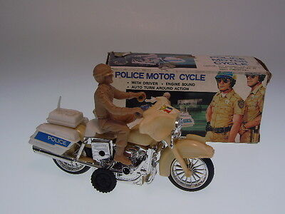 "GSMOTO ""POLICE MOTORCYCLE  ! 16cm, WIND UP, PLASTIK, NEU/ NEW/NEUF IN GOOD BOX !"