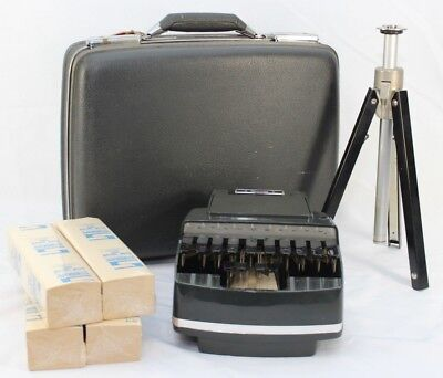 Stenograph Reporter Model Vintage Shorthand Machine W/Tripod in Case with Paper