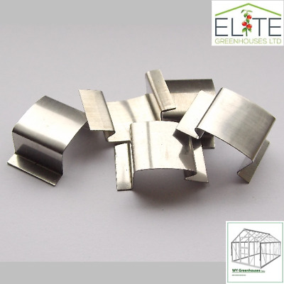 """Elite Greenhouse Stainless Steel """" G """" - Band - Glazing Glass Clips - Pack of 24"""