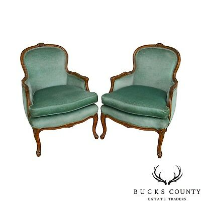 French Louis XV Style Vintage Pair of Bergere Chairs D. Becker & Sons