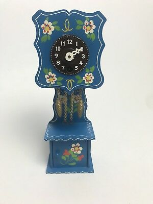 Mini made in West Germany Grandfather Blue W/Flowers Antique Clock