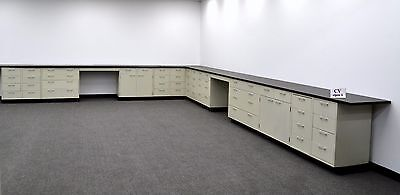 38' Laboratory Cabinets with Drawers, Doors and Desk Areas - Black Counter Tops