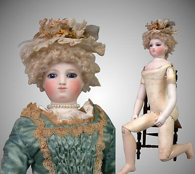 """17"""" Smiling Barrois Enfantine Poupee with Early Swivel Neck on Wooden Body"""