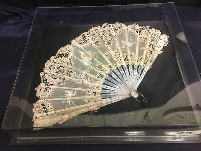 Mother Of Pearl Organdy And Lace 19th Century Hand Painted Fan