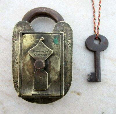 Antique Old Solid Brass Hobbs & Co. CP Excise 447 Custom Padlock With Key London