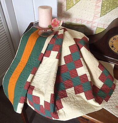 Antique Vintage Old 1800s Red Green Cheddar Feedsack Patchwork Quilt Piece #2