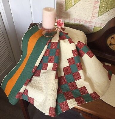 Antique Vintage Old 1800s Red Green Cheddar Feedsack Patchwork Quilt Piece #4