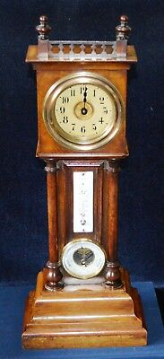 Antique Victorian Miniature Grandfather Clock Barometer & Thermometer Working