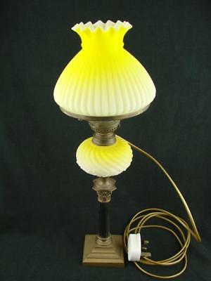 PRETTY 19th C SMALL OIL LAMP CONVERTED TO ELECTRIC GRADUATED YELLOW FONT & SHADE