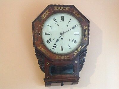 RARE mid/late 1800's AMERICAN Drop Dial Fusee Wall Clock for Restoration