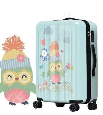 D610 Fashion Owl Universal Wheel ABS+PC Travel Suitcase Luggage 20 Inches W